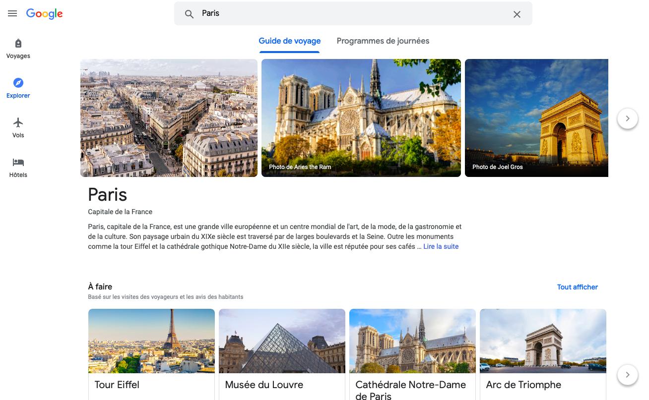 Capture d'écran de l'outil Google Travel pour trouver des activités