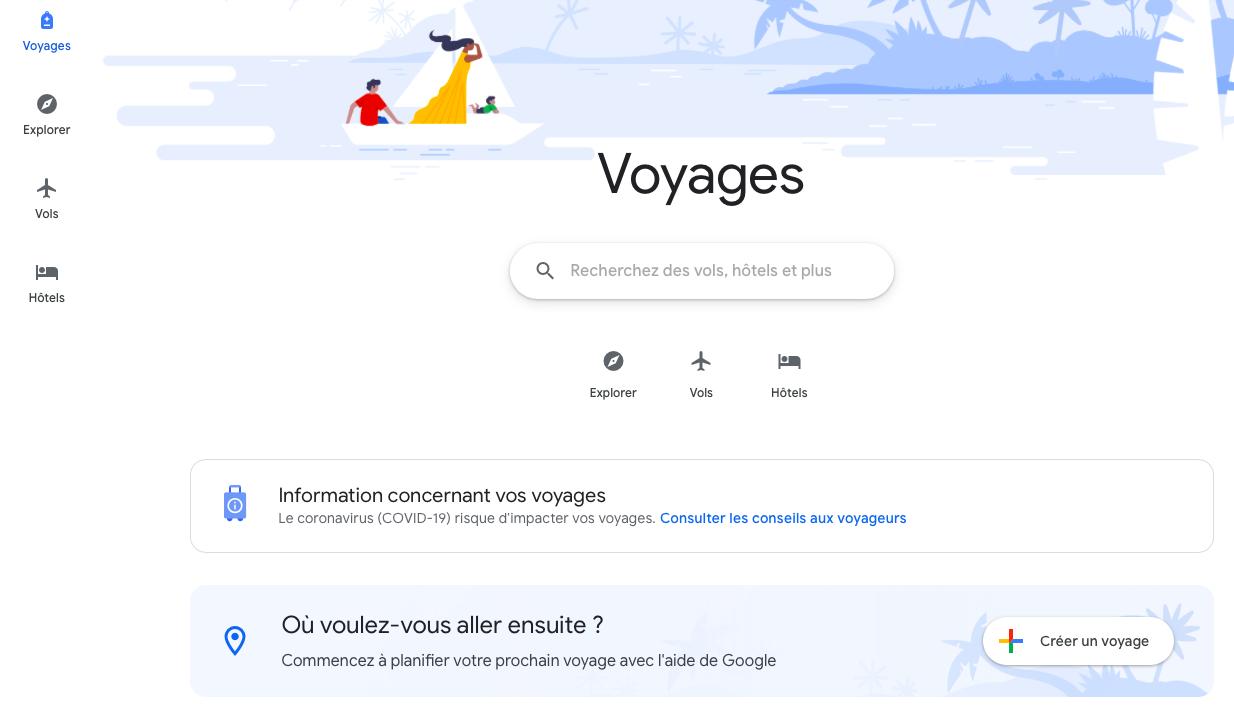 Capture d'écran de l'outil Google Travel