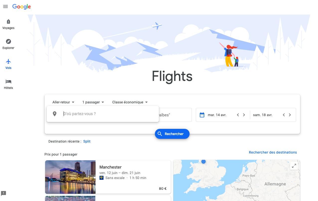 Capture d'écran de l'outil Google flights