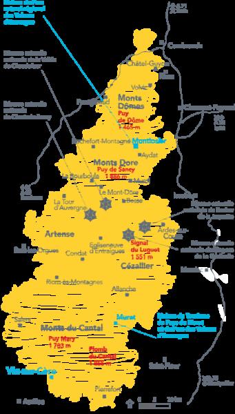 Carte du parc naturel régional des Volcans d'Auvergne