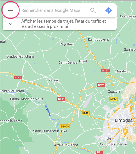 Où est le menu sur Google Maps